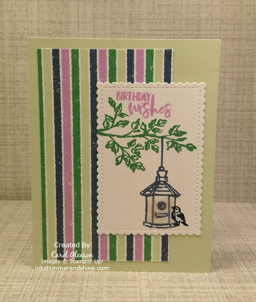 Penguin Playmates Designer Series Paper is not just for Christmas. This design features the paper and Garden Birdhouses stamp set and birthday wishes. Give your greeting a fun shape with Stitched So Sweetly Dies.