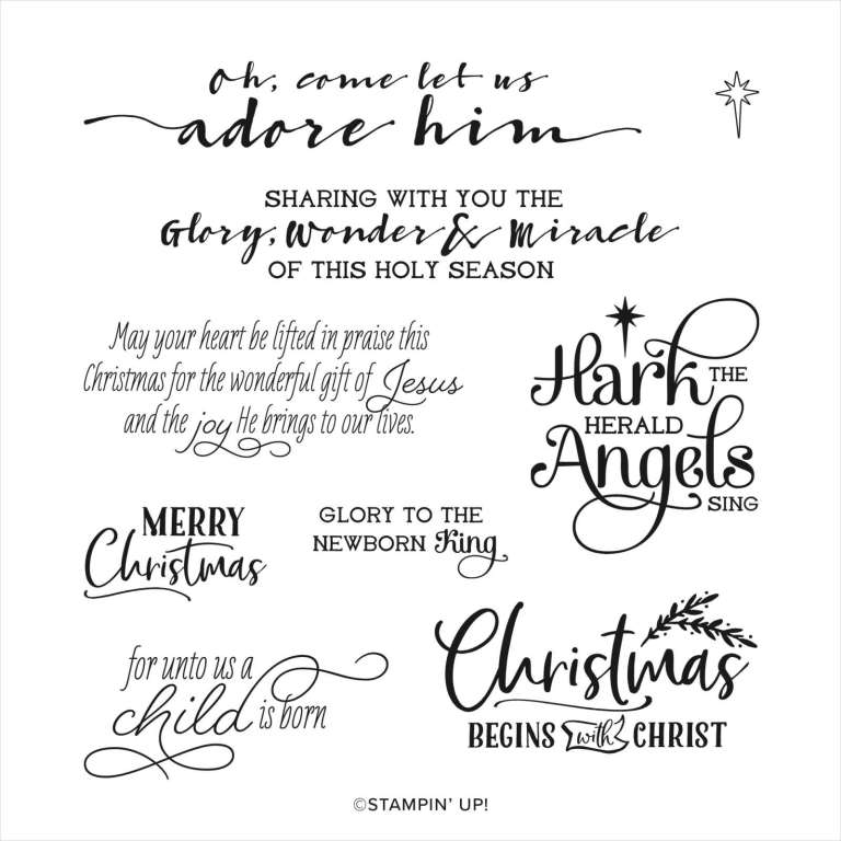 Sentiment images from the Stampin' Up! For Unto Us stamp set.