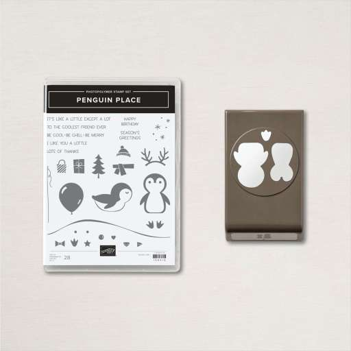Image of the Penguin Place stamp set and Penguin Builder Punch.