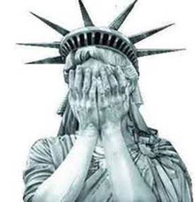 US statue of liberty weeping