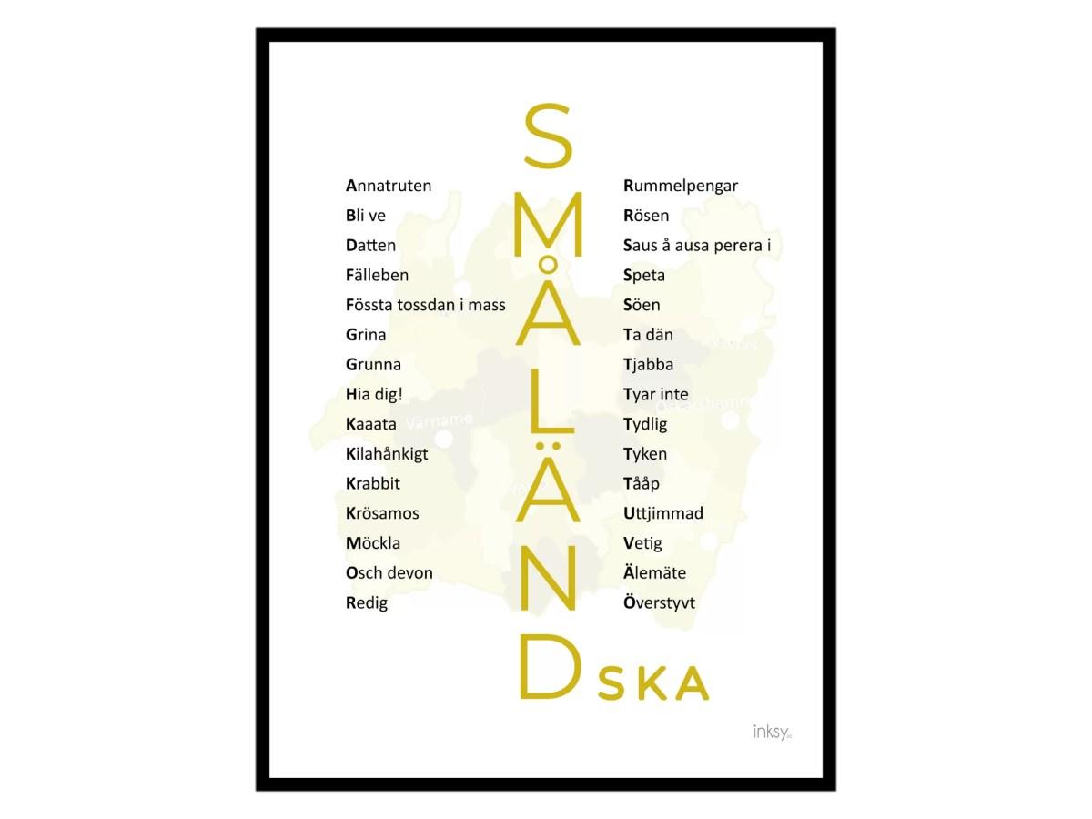 Småland småländska dialekt tavla poster