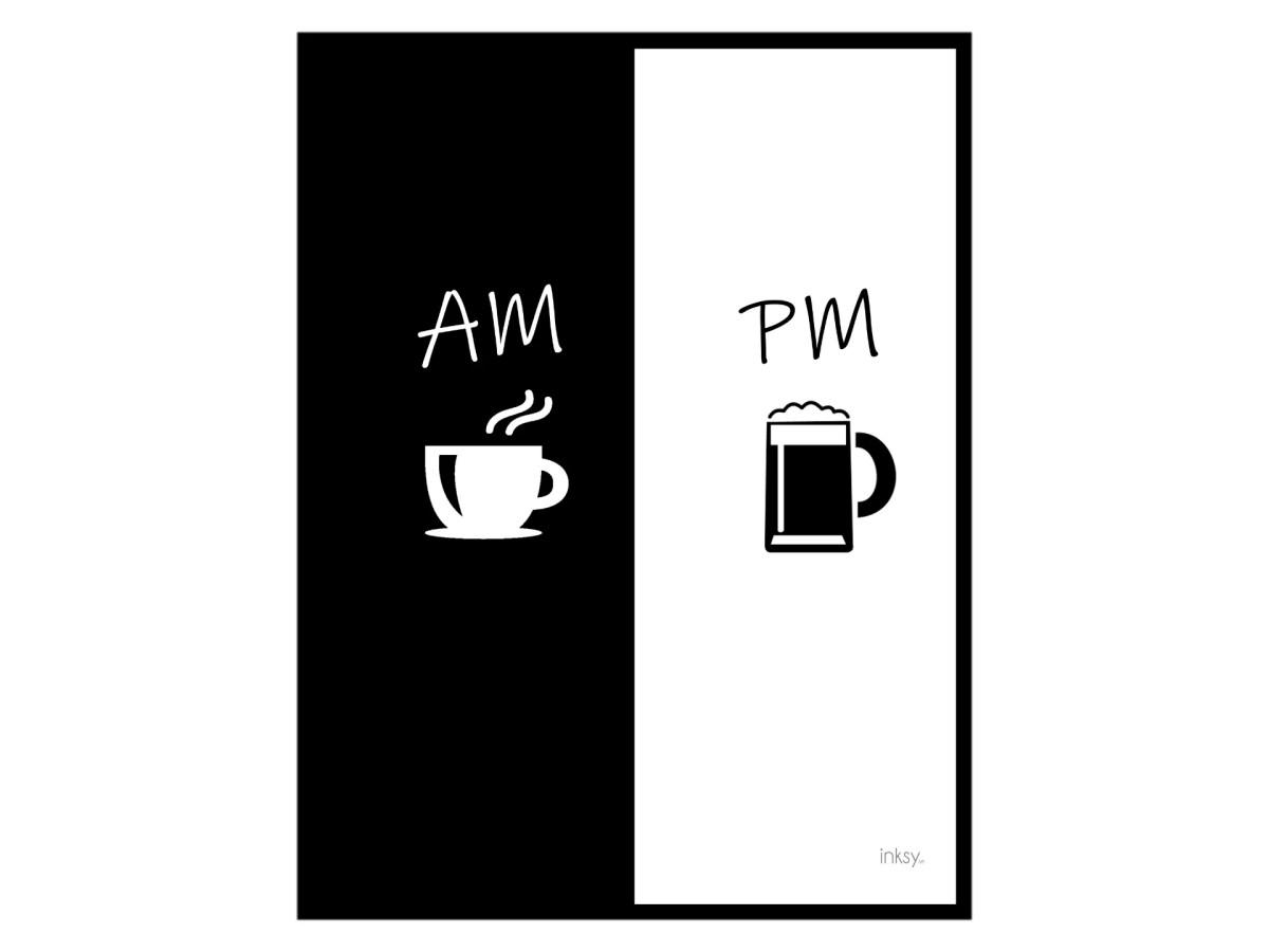 AM Coffee PM beer poster tavla