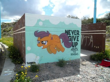 never_give_up_scootaloo_graffiti_by_shinodage-d5xunyu