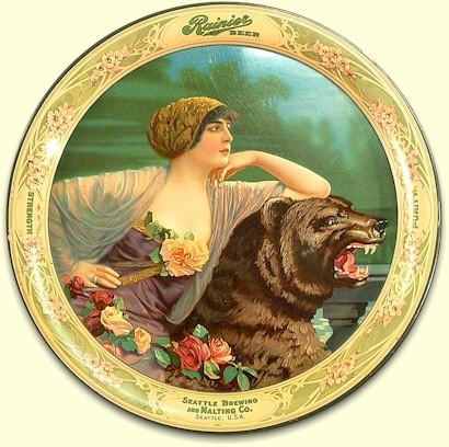 Rainier Beer tray Lady and Bear