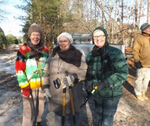 Friends of Holts Landing State Park volunteers (l-r) Jeannie Fleming, Frances Hart and Lee Temby are all bundled up for the kick-off meeting. (Photo by: Dotty LeCates)