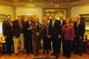 Pictured are DNREC Secretary David Small, Lew Podolske, George Bunting, Chuck Schonder, Dotty LeCates, Nancy Cabrera-Santos, Carl Mantegna, Governor Jack Markell, Tony Caputo, Frances, Helen Truitt and Bob Chin.