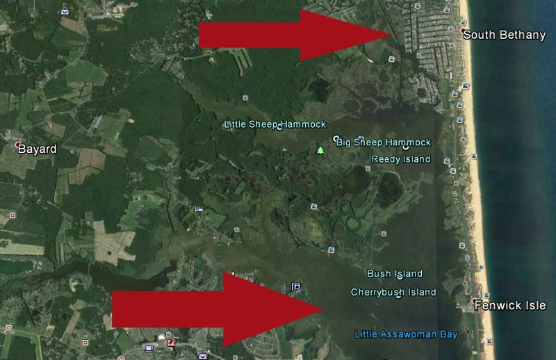 Flooding in Bethany Beach makes its way down to Little Assawoman Bay and Assawoman Bay, polluting both... (Image created on Google Earth)