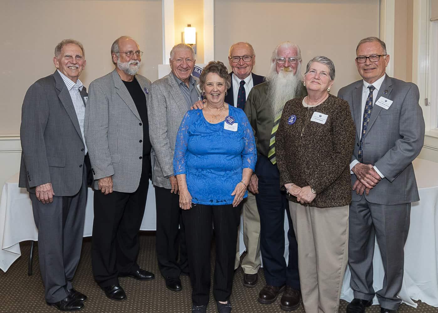 IBF Board members : Left to right, front row: Frances Hart and Joanne Haynes (IBF Member) Left to Right Back Row: Chuck Schonder, Lew Podolske (Treasurer), Al Allenspach, Dave Joeger (Prisident), Ken Haynes, Sen. George Bunting (former state senator)