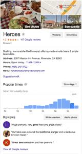 Heroes Google listing.