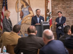 CSI Director Karthick Ramakrishnan addresses the Inland California Rising coalition at the State Capitol. February 19, 2019.