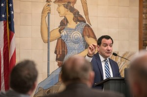 Speaker Anthony Rendon addresses the Inland California Rising coalition at the State Capitol. February 19, 2019.