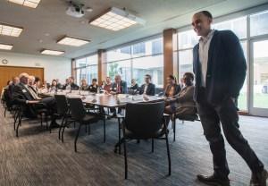 Daniel Zingale addresses the Inland California Rising coalition at the Governor's Council Room, Sacramento. February 19, 2019.