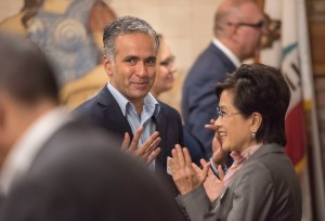 CSI-UCR Director Karthick Ramakrishnan and Bakersfield Mayor Karen Goh at the Inland California Rising coalition, State Capitol. February 19, 2019.