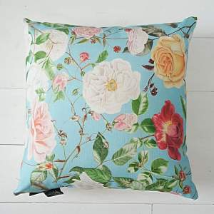 Turquoise Floral Cushion - RHS Royal Horticultural Society