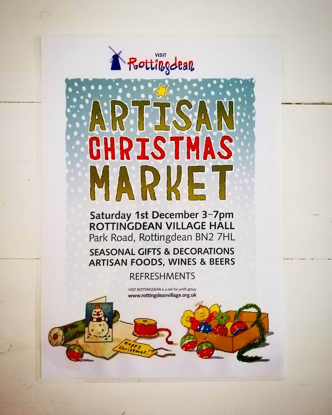🎄 Rottingdean Artisan Christmas Market 🎄 Saturday 1st December 3pm – 7pm Village Hall