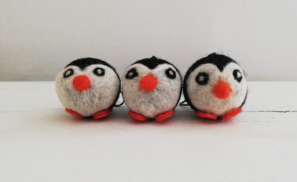 Set of 3 Felt Penguin Christmas Decorations