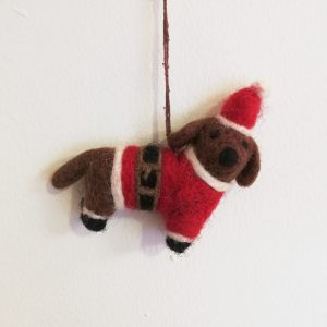 Felt Dog with Santa Outfit Christmas Decoration