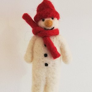 Felt Snowman with Red Hat and Scarf Christmas Decoration