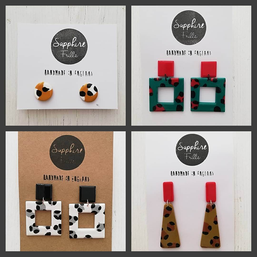 ♥️ NEW IN! Handmade leopard print earrings! 3 designs in 4 gorgeous colours! Check them all out here… https://inlehome.co.uk/product-category/jewellery/