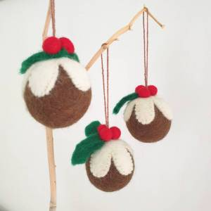 Felt Christmas Pudding Baubles by Felt So Good