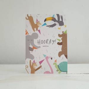 'Hooray! Party Animals' Birthday Card