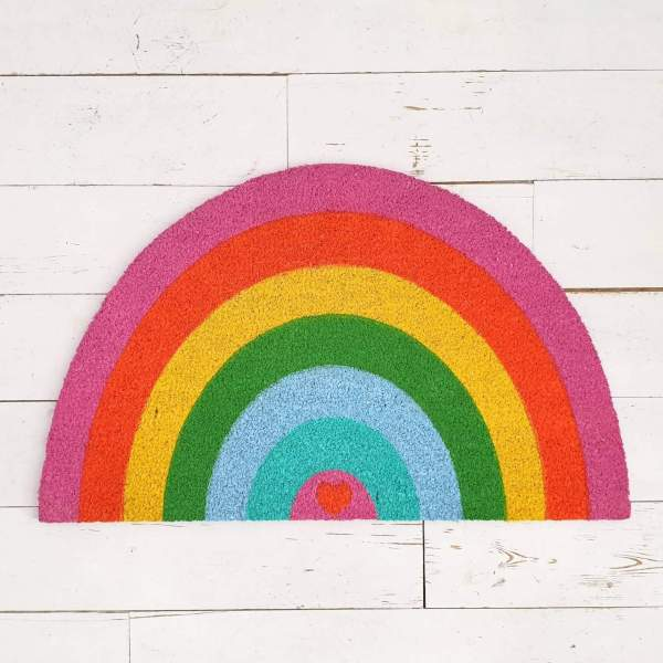 Shaped Rainbow Doormat with Heart Detail by Bombay Duxk