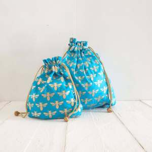 Turquoise Bees Fabric Gift Bag
