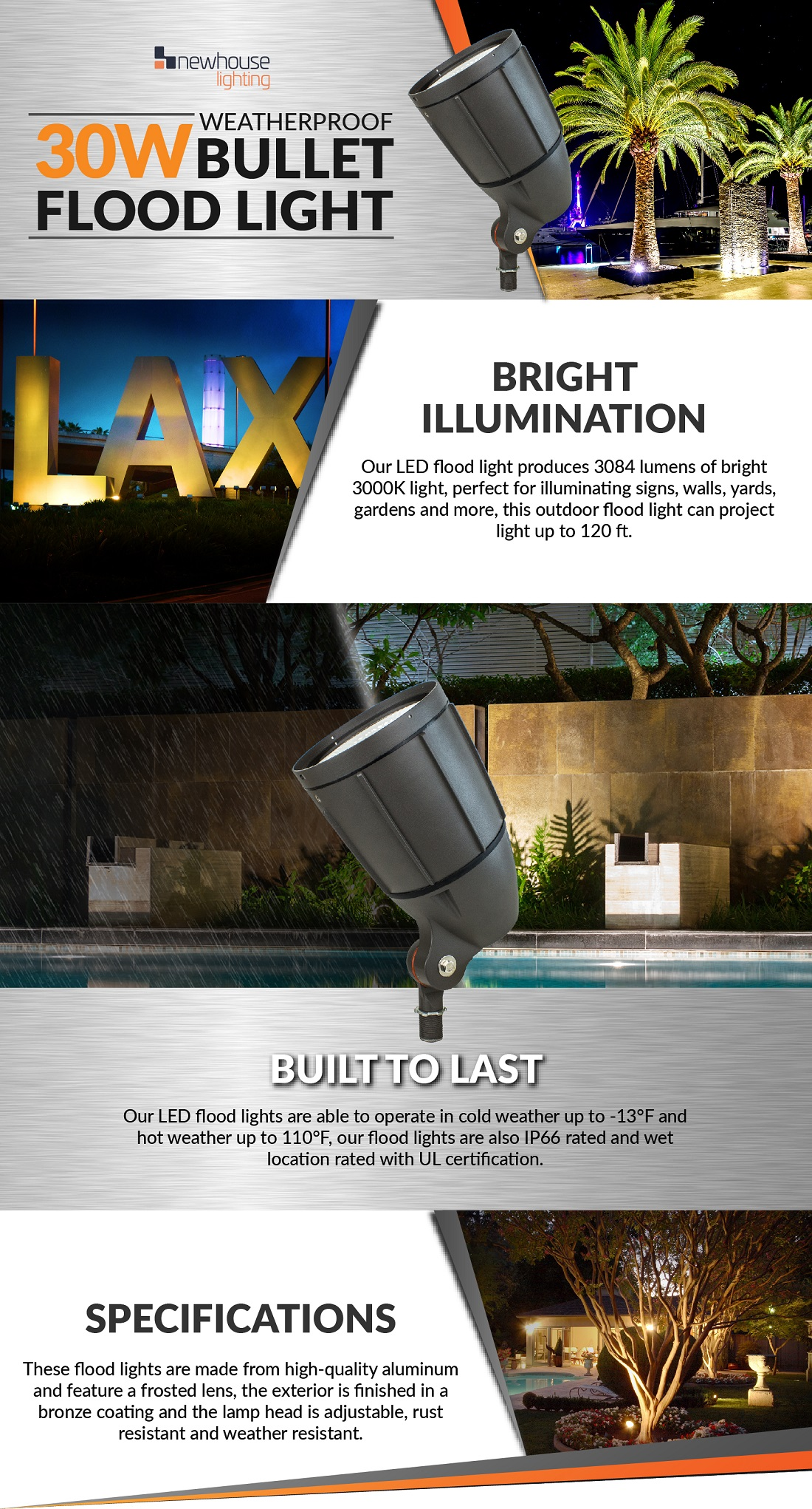 10 watt 120v landscape lighting bullet