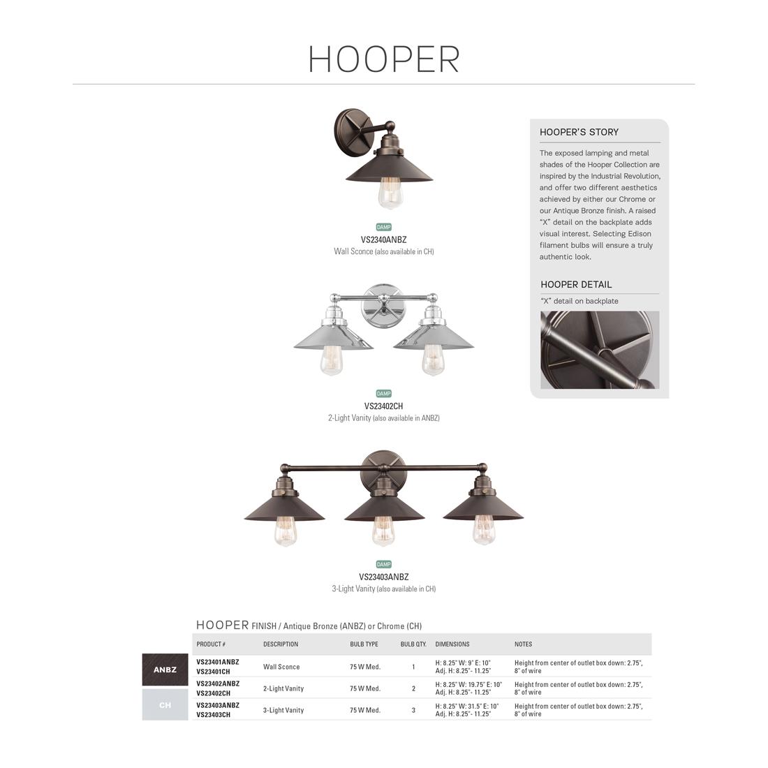 Feiss Hooper 2 Light Antique Bronze Bath Light Vs Anbz