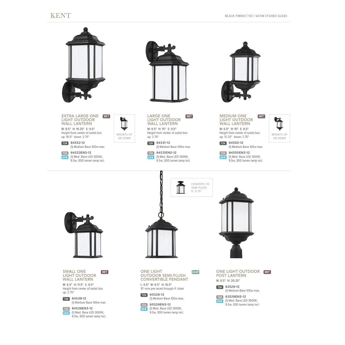 Sea Gull Lighting Kent 1 Light Outdoor Black Post Light