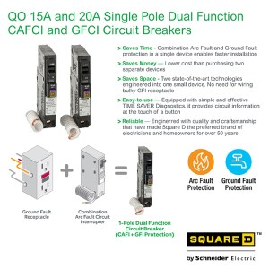 Square D QO 20 Amp SinglePole Dual Function (CAFCI and GFCI) Circuit BreakerQO120DFC  The