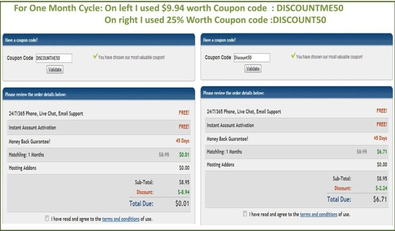 Hostgator Coupon code For 1 month Plan