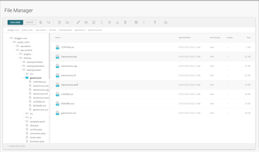 SiteGround contol panel file manager
