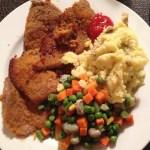 Beef Snitzel with mix veggie and mash potato