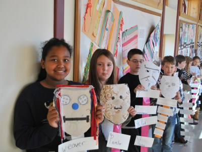 Students celebrated character at Inly School by designing masks.