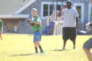 Jabari Scutchins watches over flag football practice this fall.