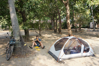 Camping under mango trees in El Salvador