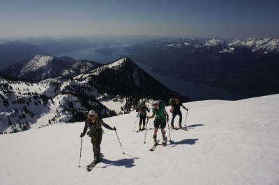 Skinning high above Harrison Lake