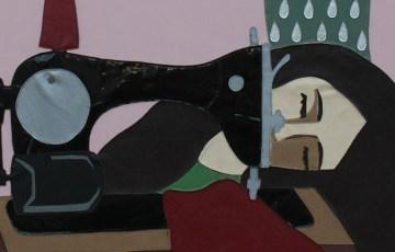 """""""En el taller"""". 2011. """"Mención de honor"""" en el salón Vendimia 2011. Collage de cuerina. 1,4 x 1,7 mts. Erika Tanquilevich."""