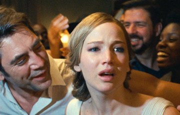 mother! Left to right: Javier Bardem as Eli and Jennifer Lawrence as Grace