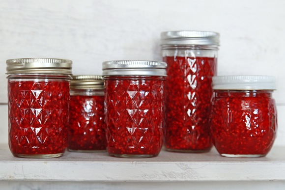 Rasberry jam Jars (c) 2011 by Gillian Bostock