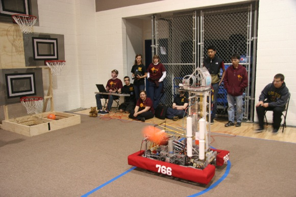 Menlo-Atherton High School robot shoots baskets