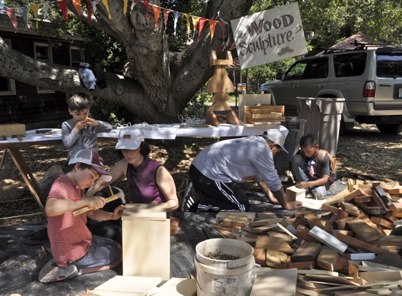 wood sculpting at Peninsula School spring fair