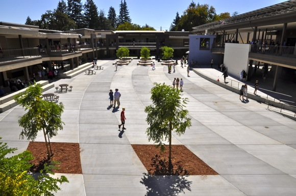 Interior courtyard of new Hillview School in Menlo Park