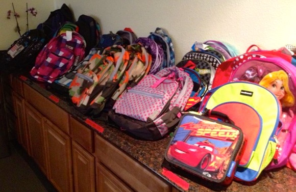 backpacks lined up