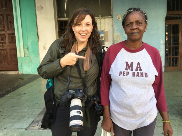 Betsy and woman in Cuba with M-A tshirt