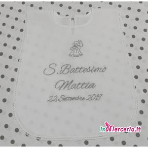 Camicina S. Battesimo in cotone con angelo e nome