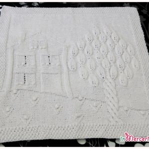 Copertina in lana o cotone per neonato con casetta e albero incantati