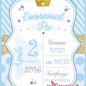 Poster quadretto nascita con corona
