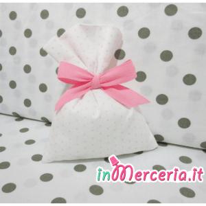Sacchettini bomboniere portaconfetti bianco pois rosa